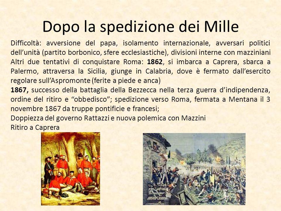 Dopo la spedizione dei Mille Difficoltà: avversione del papa, isolamento internazionale, avversari politici dellunità (partito borbonico, sfere eccles