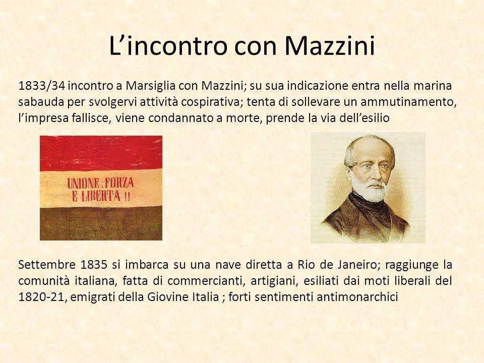 Lincontro con Mazzini 1833/34 incontro a Marsiglia con Mazzini; su sua indicazione entra nella marina sabauda per svolgervi attività cospirativa; tent