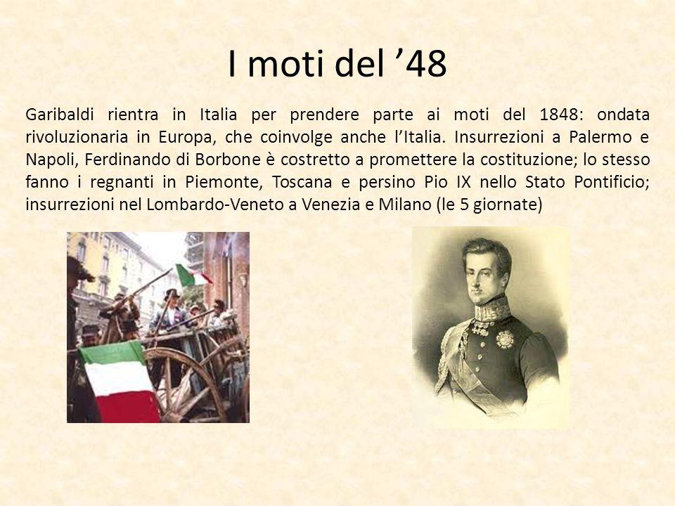I moti del 48 Garibaldi rientra in Italia per prendere parte ai moti del 1848: ondata rivoluzionaria in Europa, che coinvolge anche lItalia. Insurrezi