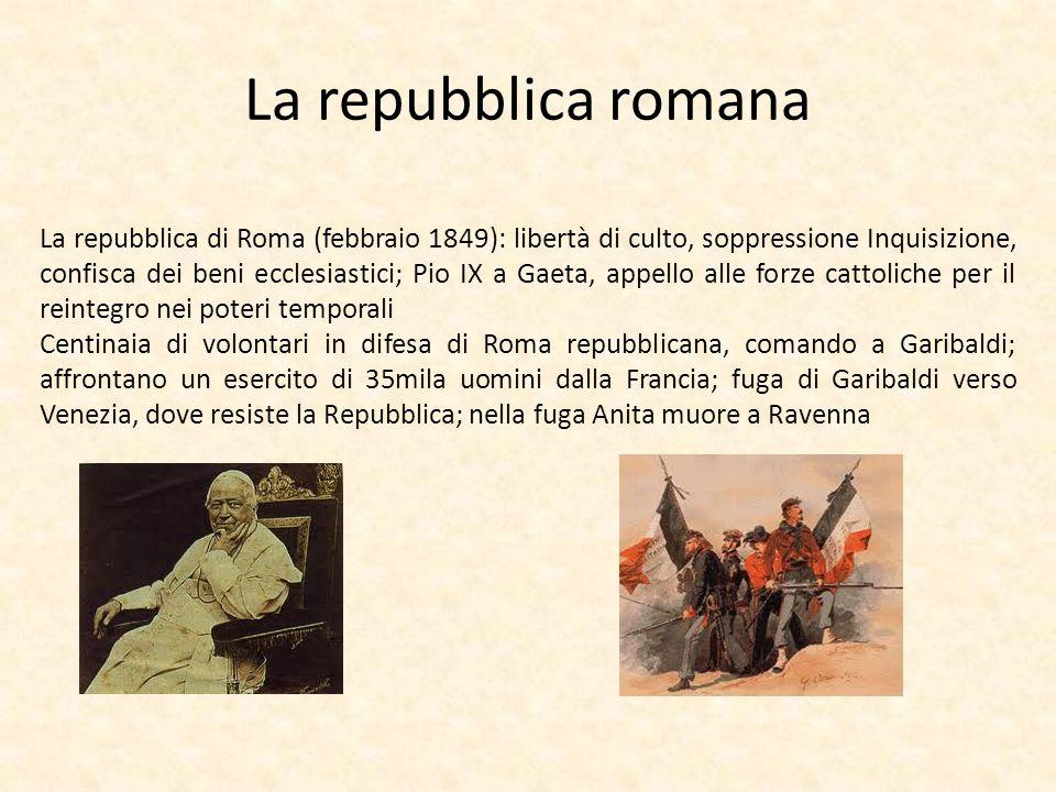 La repubblica romana La repubblica di Roma (febbraio 1849): libertà di culto, soppressione Inquisizione, confisca dei beni ecclesiastici; Pio IX a Gae