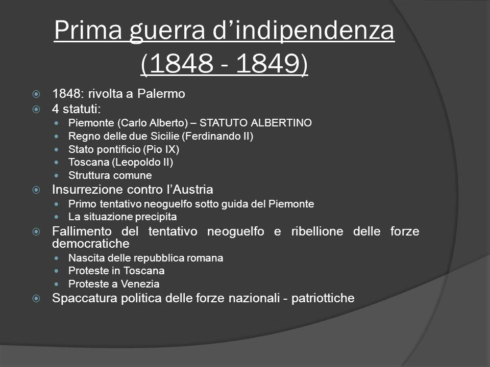 Prima guerra dindipendenza (1848 - 1849) 1848: rivolta a Palermo 4 statuti: Piemonte (Carlo Alberto) – STATUTO ALBERTINO Regno delle due Sicilie (Ferd