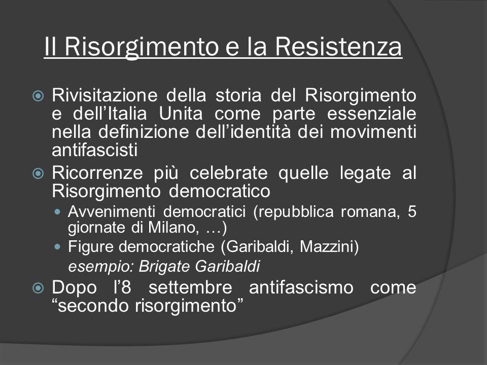 Il Risorgimento e la Resistenza Rivisitazione della storia del Risorgimento e dellItalia Unita come parte essenziale nella definizione dellidentità de
