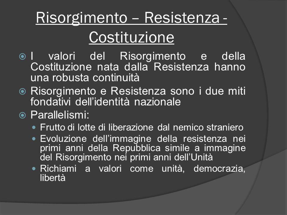 Risorgimento – Resistenza - Costituzione I valori del Risorgimento e della Costituzione nata dalla Resistenza hanno una robusta continuità Risorgiment