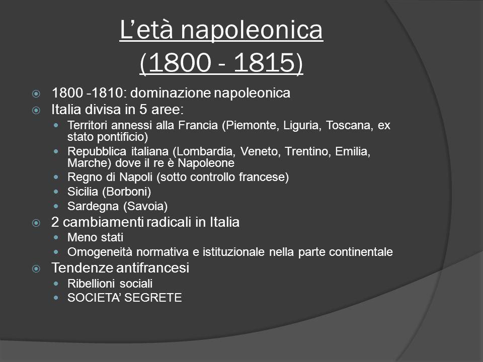 Letà napoleonica (1800 - 1815) 1800 -1810: dominazione napoleonica Italia divisa in 5 aree: Territori annessi alla Francia (Piemonte, Liguria, Toscana