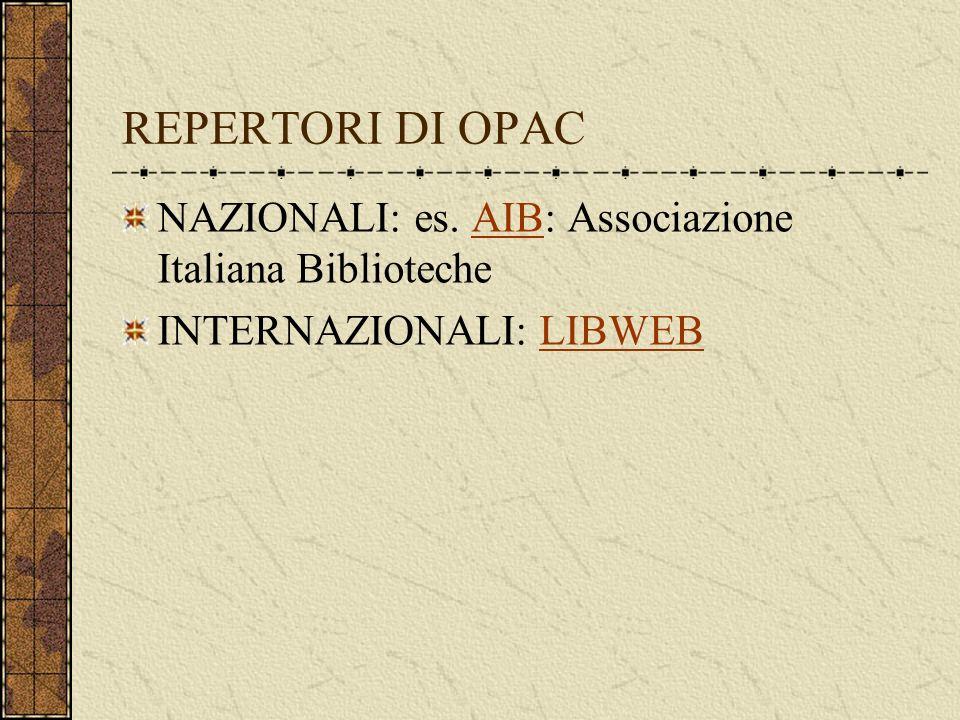 REPERTORI DI OPAC NAZIONALI: es.