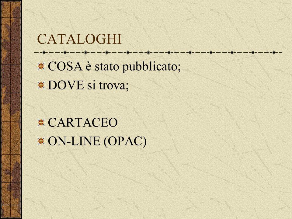 CATALOGHI COSA è stato pubblicato; DOVE si trova; CARTACEO ON-LINE (OPAC)