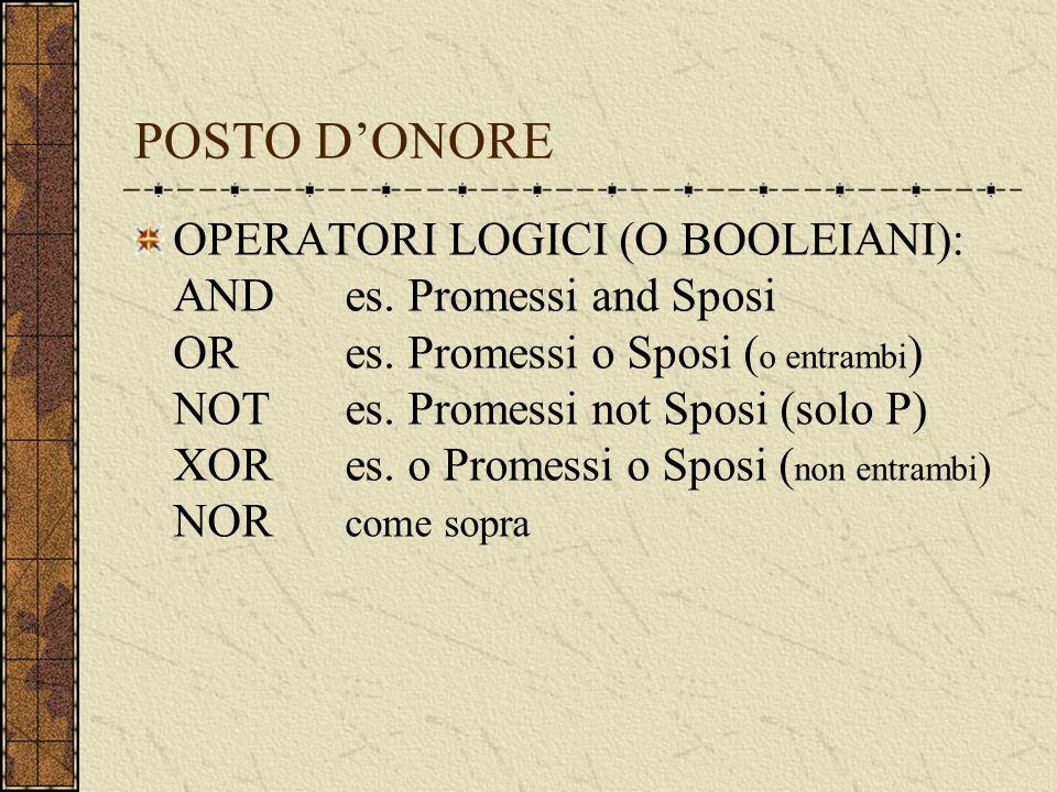 POSTO DONORE OPERATORI LOGICI (O BOOLEIANI): ANDes.