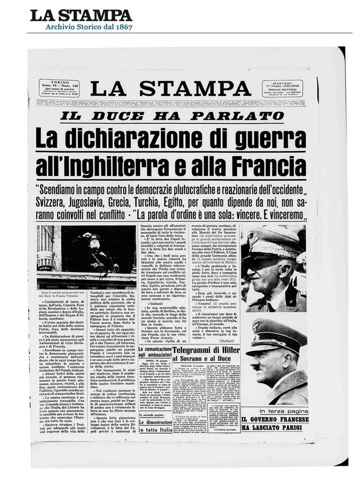 1940-1943 Italia in guerra I soldati italiani sono impegnati su diversi fronti: -Il fronte occidentale (Francia) -Il fronte africano -Il fronte balcanico -Dal giugno 41 al febbraio 43 il fronte russo (114mila perdite su 230 mila soldati partiti)