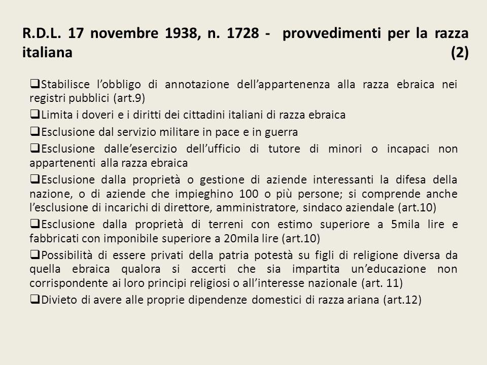 R.D.L. 17 novembre 1938, n. 1728 - provvedimenti per la razza italiana (2) Stabilisce lobbligo di annotazione dellappartenenza alla razza ebraica nei
