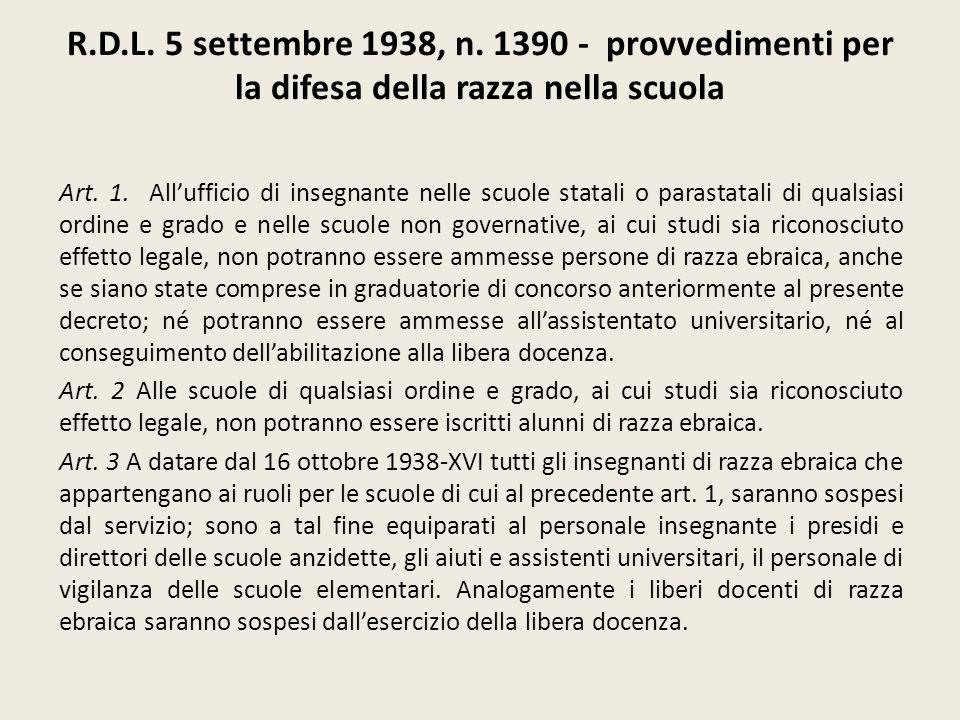 R.D.L. 5 settembre 1938, n. 1390 - provvedimenti per la difesa della razza nella scuola Art. 1. Allufficio di insegnante nelle scuole statali o parast