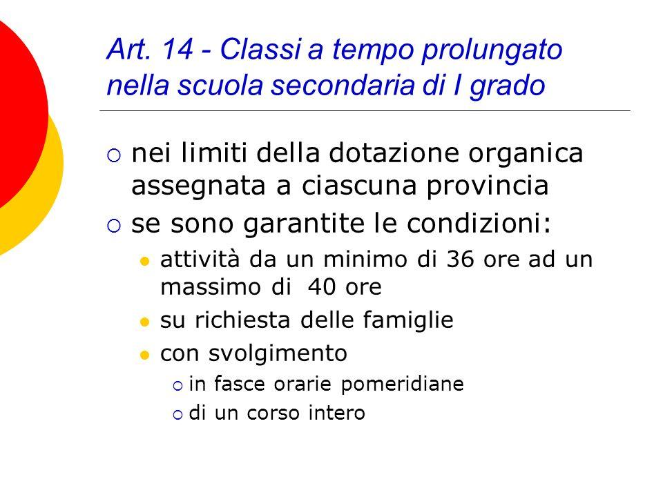 Art. 14 - Classi a tempo prolungato nella scuola secondaria di I grado nei limiti della dotazione organica assegnata a ciascuna provincia se sono gara