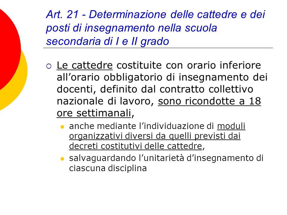 Art. 21 - Determinazione delle cattedre e dei posti di insegnamento nella scuola secondaria di I e II grado Le cattedre costituite con orario inferior