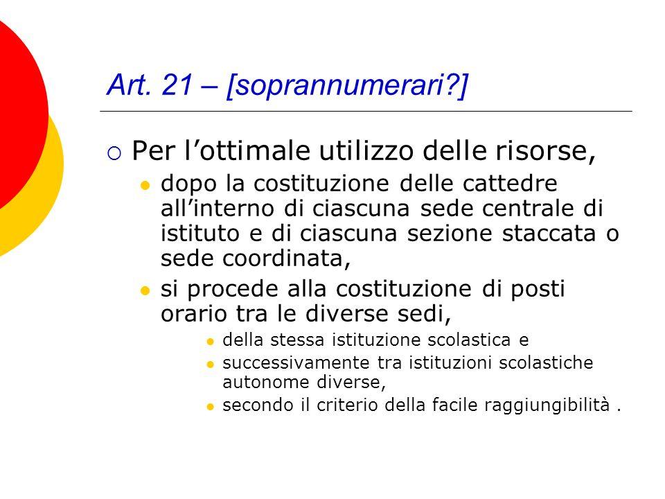 Art. 21 – [soprannumerari?] Per lottimale utilizzo delle risorse, dopo la costituzione delle cattedre allinterno di ciascuna sede centrale di istituto