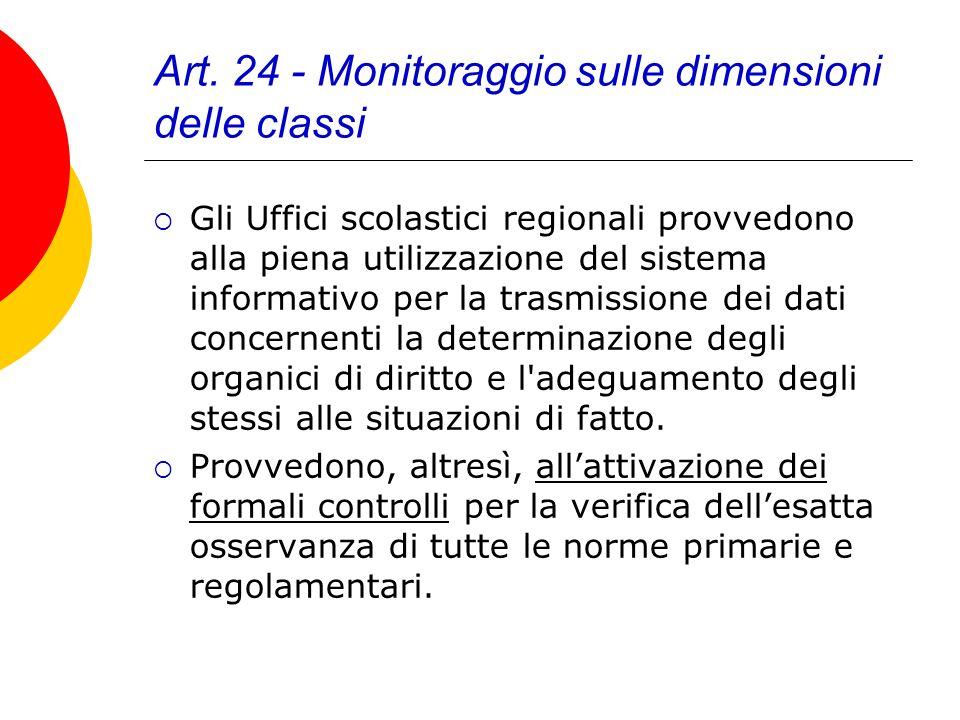 Art. 24 - Monitoraggio sulle dimensioni delle classi Gli Uffici scolastici regionali provvedono alla piena utilizzazione del sistema informativo per l