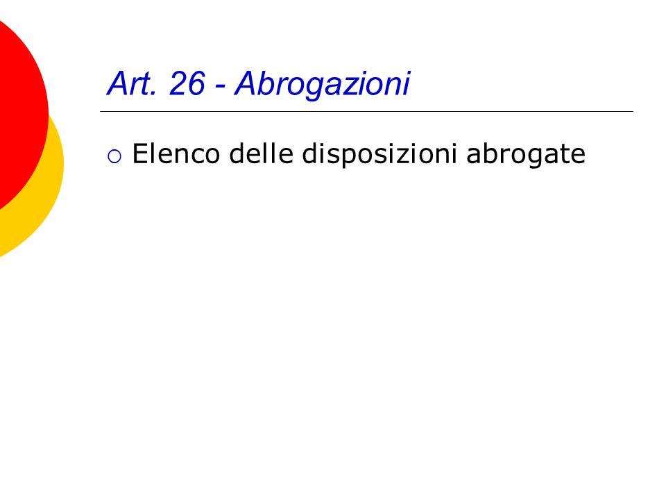 Art. 26 - Abrogazioni Elenco delle disposizioni abrogate