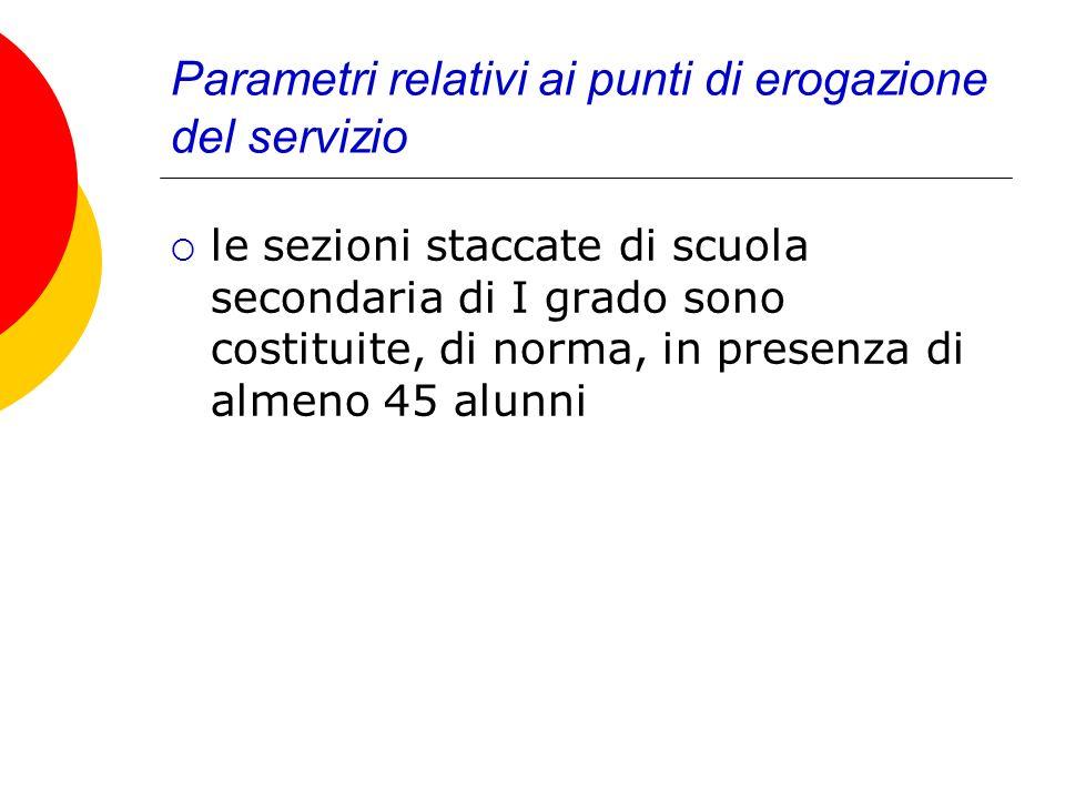 Parametri relativi ai punti di erogazione del servizio le sezioni staccate di scuola secondaria di I grado sono costituite, di norma, in presenza di almeno 45 alunni
