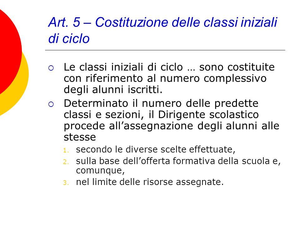 Art. 5 – Costituzione delle classi iniziali di ciclo Le classi iniziali di ciclo … sono costituite con riferimento al numero complessivo degli alunni