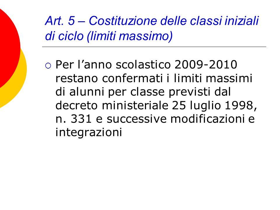 Art. 5 – Costituzione delle classi iniziali di ciclo (limiti massimo) Per lanno scolastico 2009-2010 restano confermati i limiti massimi di alunni per