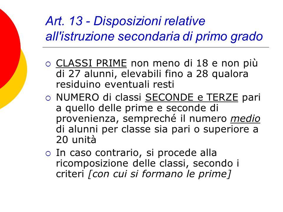 Art. 13 - Disposizioni relative all'istruzione secondaria di primo grado CLASSI PRIME non meno di 18 e non più di 27 alunni, elevabili fino a 28 qualo