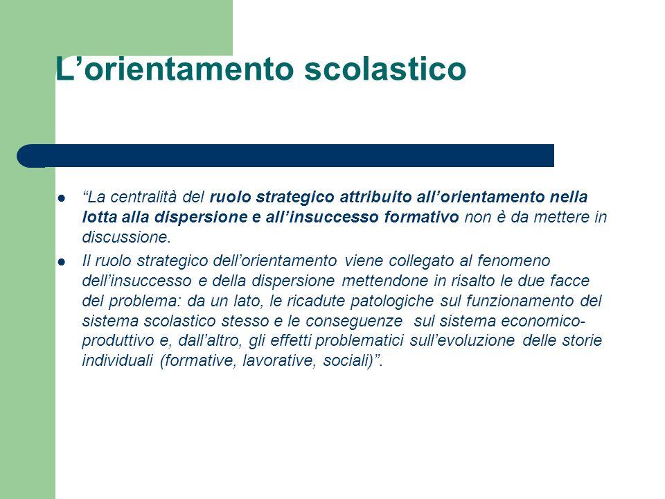 Lorientamento scolastico La centralità del ruolo strategico attribuito allorientamento nella lotta alla dispersione e allinsuccesso formativo non è da mettere in discussione.