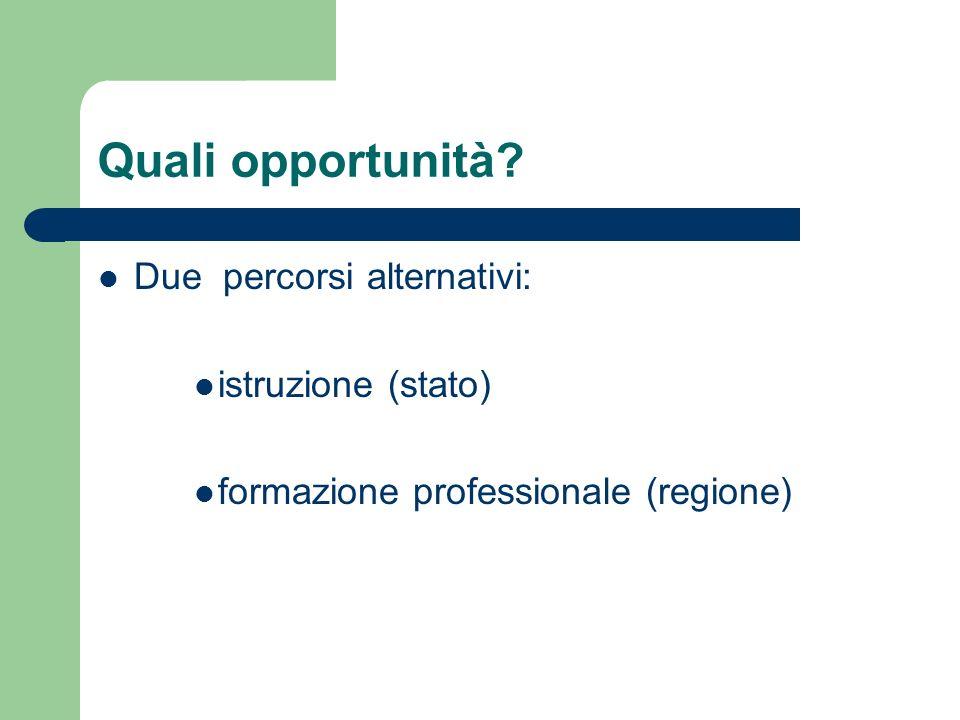 Quali opportunità? Due percorsi alternativi: istruzione (stato) formazione professionale (regione)