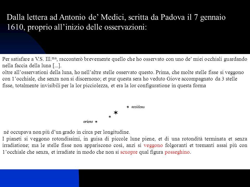 25/11/20099 Die itaque septima Ianuarii, instantis anni millesimi sexcentesimi decimi, hora sequentis noctis prima, cum caelestia sidera per Perspicillum spectarem, Iuppiter sese obviam fecit; cumque admodum excellens mihi parassem instrumentum (quod antea ob alterius organi debilitatem minime contigerat), tres illi adstare Stellulas, exiguas quidem, veruntamen clarissimas, cognovi; quae, licet e numero inerrantium a me crederentur, nonnullam tamen intulerunt admirationem, eo quod secundum exactam lineam rectam atque Eclipticae parallelam dispositae videbantur, ac caeteris magnitudine paribus splendidiores.
