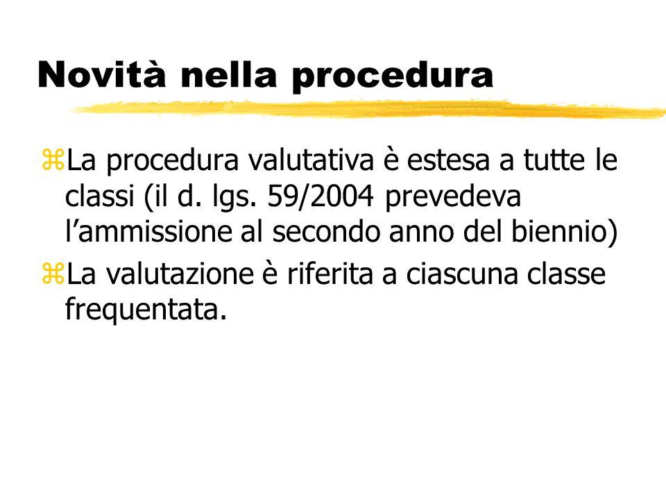 Novità nella procedura zLa procedura valutativa è estesa a tutte le classi (il d. lgs. 59/2004 prevedeva lammissione al secondo anno del biennio) zLa