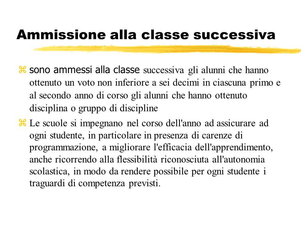 Ammissione alla classe successiva sono ammessi alla classe successiva gli alunni che hanno ottenuto un voto non inferiore a sei decimi in ciascuna pri