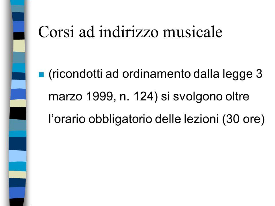 Corsi ad indirizzo musicale n (ricondotti ad ordinamento dalla legge 3 marzo 1999, n.