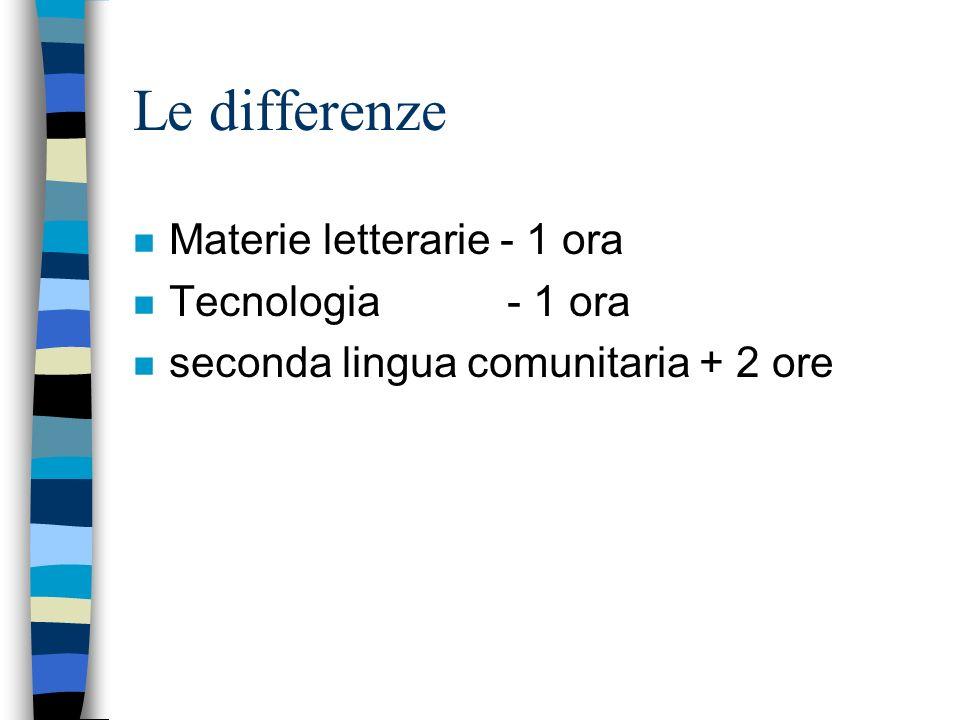 Le differenze n Materie letterarie - 1 ora n Tecnologia - 1 ora n seconda lingua comunitaria + 2 ore