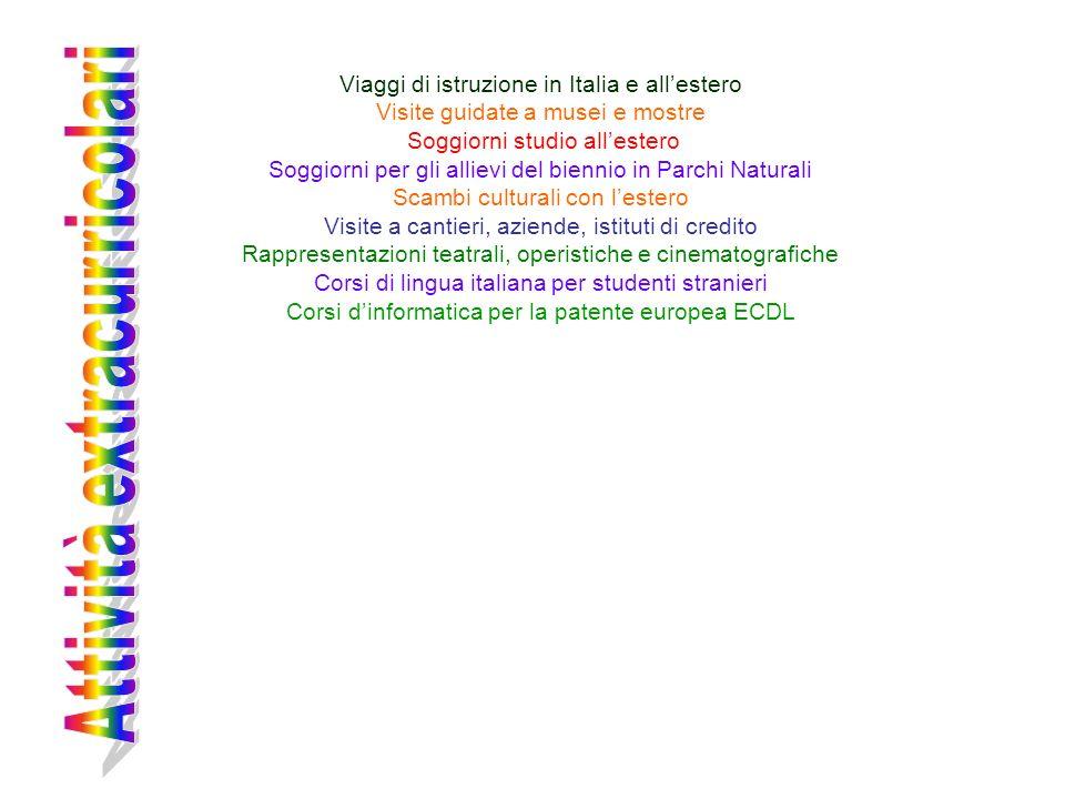 Viaggi di istruzione in Italia e allestero Visite guidate a musei e mostre Soggiorni studio allestero Soggiorni per gli allievi del biennio in Parchi