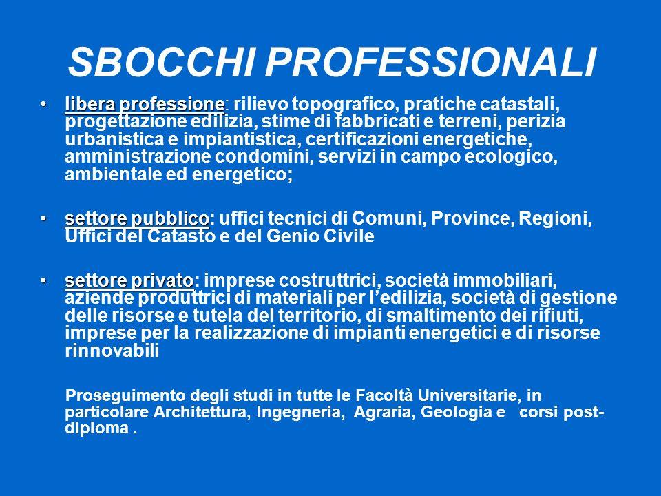 SBOCCHI PROFESSIONALI libera professionelibera professione: rilievo topografico, pratiche catastali, progettazione edilizia, stime di fabbricati e ter