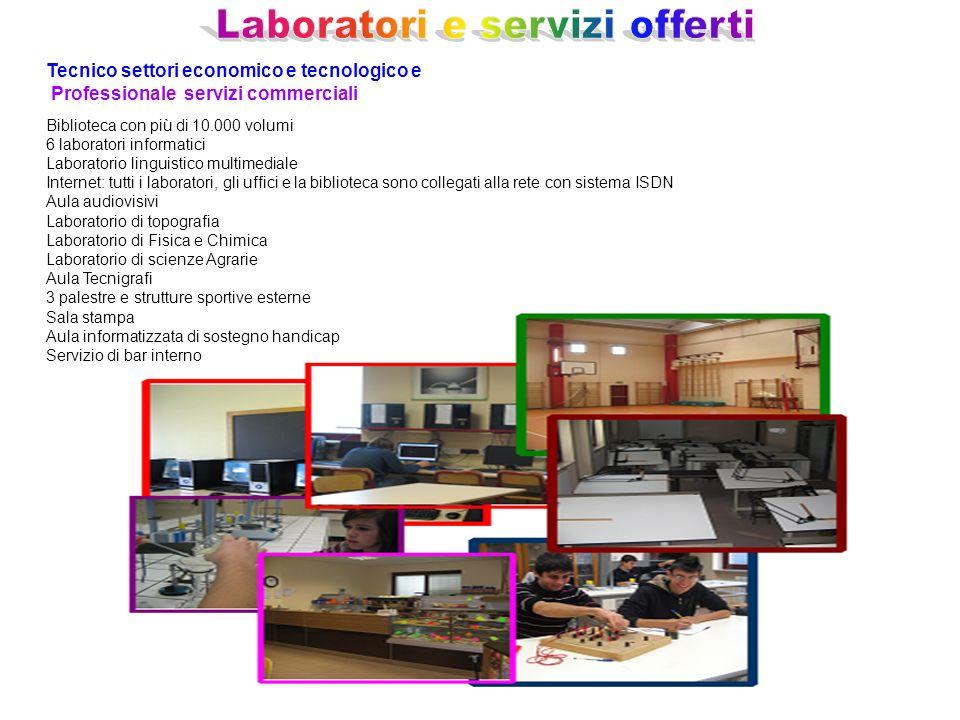 Tecnico settori economico e tecnologico e Professionale servizi commerciali Biblioteca con più di 10.000 volumi 6 laboratori informatici Laboratorio l