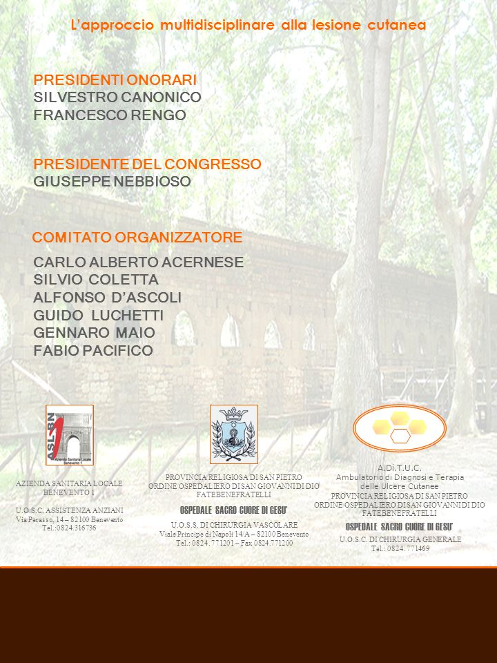 Associazione Italiana Ulcere Cutanee PRESIDENTE ELIA RICCI VICEPRESIDENTE ALESSANDRO FARRIS SEGRETARIO MONICA PITTARELLO TESORIERE UGO BOVONE CONSIGLIERI ANNA AVANZI CINZIA BRILLI FERDINANDO CAMPITIELLO ALDO CRESPI GIORGIO GUARNERA MARIO MARAZZI MARCO MASINA ROBERTO MESSINA GIOVANNI MOSTI FRANCESCO PETRELLA GAETANO ROMANO ALESSANDRO SCALISE FILIPPO TOPO REVISORI DEI CONTI PAOLO CUFFARO ORNELLA FORMA EMANUELE NASOLE PROBIVIRI LUCA MASSIMO CHINNI PIERO BONADEO MARCO ROMANELLI Associazione Italiana Ulcere Cutanee C/o Centro Congressi Internazionale S.r.l.