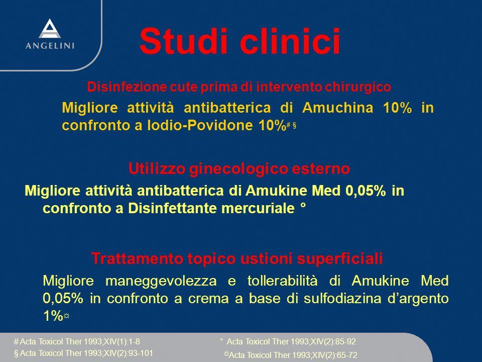 Studi clinici Disinfezione cute prima di intervento chirurgico Migliore attività antibatterica di Amuchina 10% in confronto a Iodio-Povidone 10% # § #