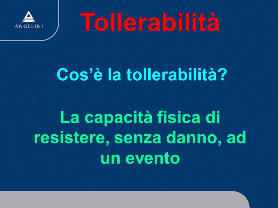 Cosè la tollerabilità? La capacità fisica di resistere, senza danno, ad un evento Tollerabilità