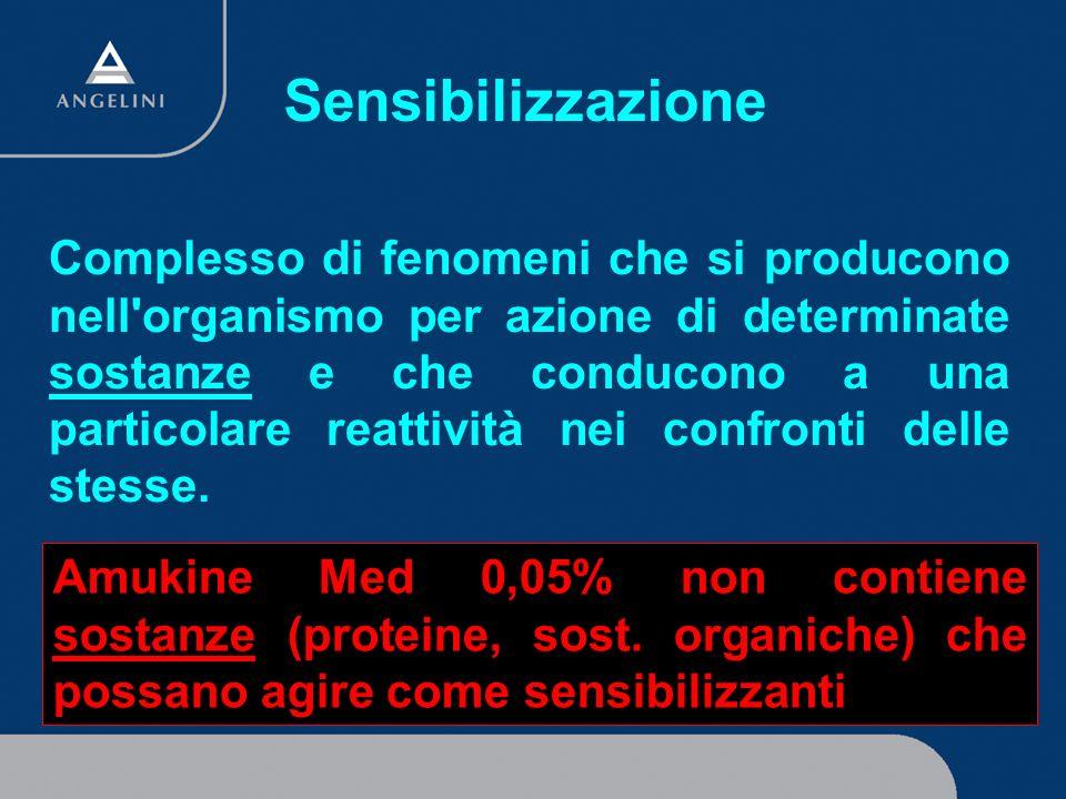 Sensibilizzazione Amukine Med 0,05% non contiene sostanze (proteine, sost. organiche) che possano agire come sensibilizzanti Complesso di fenomeni che