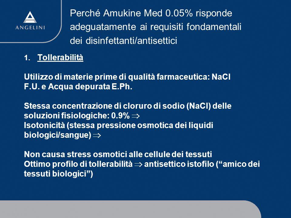 Perché Amukine Med 0.05% risponde adeguatamente ai requisiti fondamentali dei disinfettanti/antisettici 1. Tollerabilità Utilizzo di materie prime di