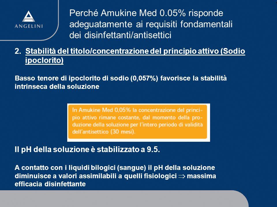 1 2. Stabilità del titolo/concentrazione del principio attivo (Sodio ipoclorito) Basso tenore di ipoclorito di sodio (0,057%) favorisce la stabilità i