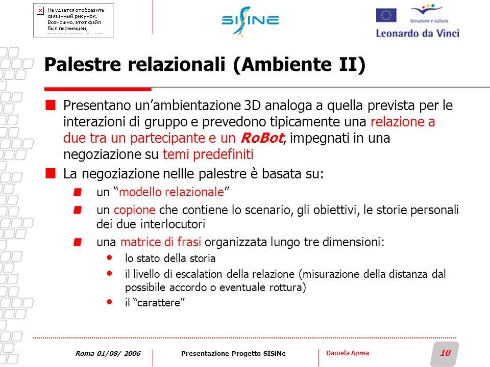 Daniela Aprea 10 Roma 01/08/ 2006Presentazione Progetto SISiNe Palestre relazionali (Ambiente II) Presentano unambientazione 3D analoga a quella previ