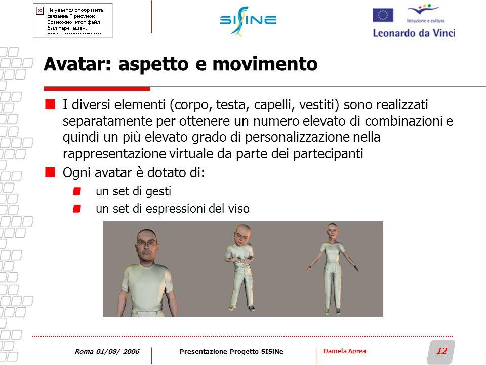 Daniela Aprea 12 Roma 01/08/ 2006Presentazione Progetto SISiNe Avatar: aspetto e movimento I diversi elementi (corpo, testa, capelli, vestiti) sono re