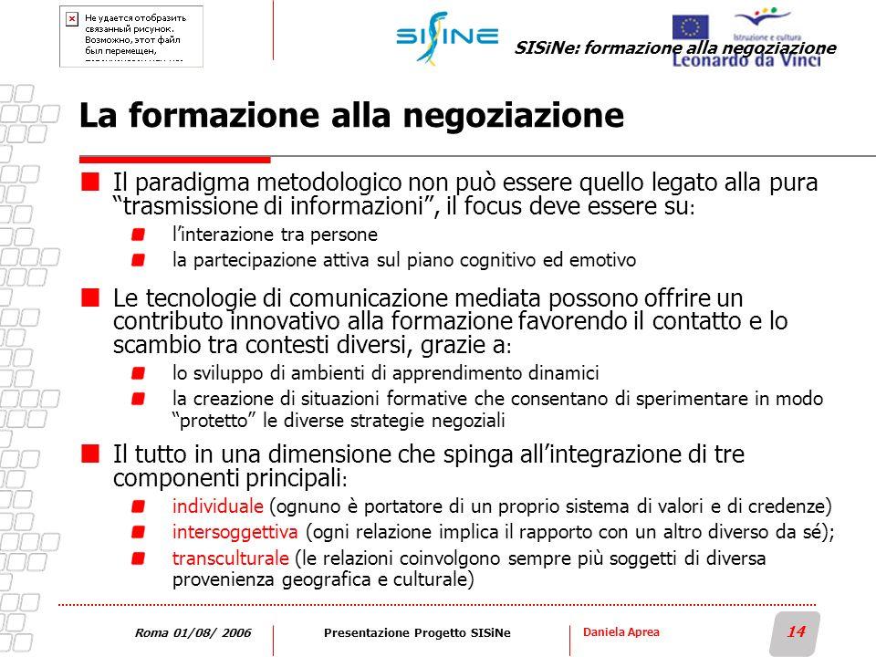 Daniela Aprea 14 Roma 01/08/ 2006Presentazione Progetto SISiNe La formazione alla negoziazione Il paradigma metodologico non può essere quello legato