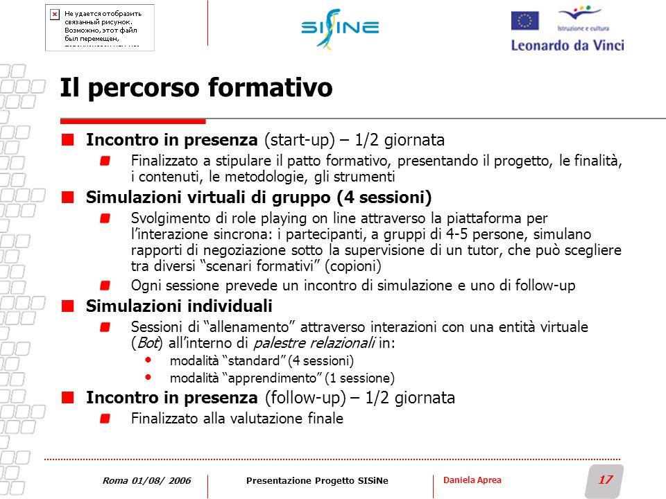 Daniela Aprea 17 Roma 01/08/ 2006Presentazione Progetto SISiNe Il percorso formativo Incontro in presenza (start-up) – 1/2 giornata Finalizzato a stip