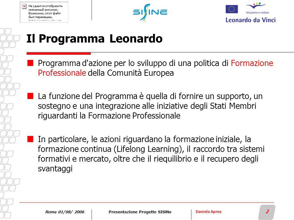 Daniela Aprea 2 Roma 01/08/ 2006Presentazione Progetto SISiNe Il Programma Leonardo Programma d'azione per lo sviluppo di una politica di Formazione P