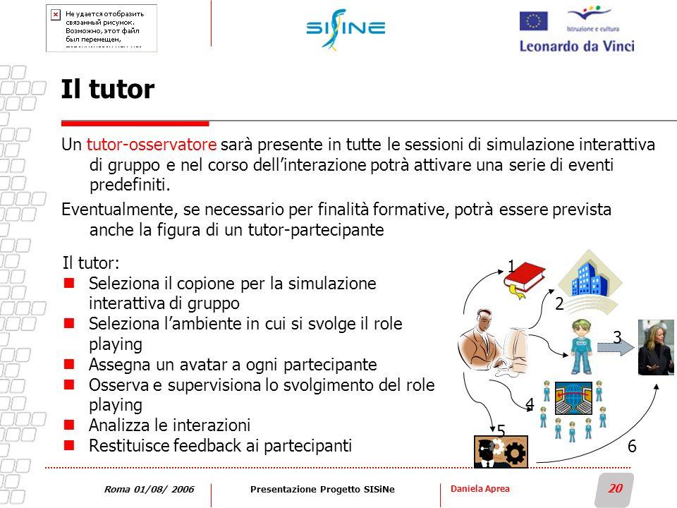 Daniela Aprea 20 Roma 01/08/ 2006Presentazione Progetto SISiNe Il tutor Un tutor-osservatore sarà presente in tutte le sessioni di simulazione interat