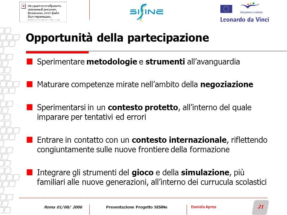 Daniela Aprea 21 Roma 01/08/ 2006Presentazione Progetto SISiNe Opportunità della partecipazione Sperimentare metodologie e strumenti allavanguardia Ma