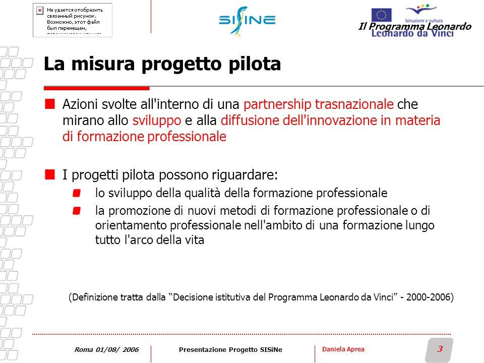 Daniela Aprea 3 Roma 01/08/ 2006Presentazione Progetto SISiNe La misura progetto pilota Azioni svolte all'interno di una partnership trasnazionale che