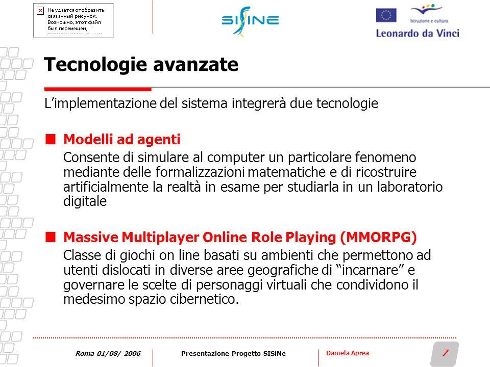 Daniela Aprea 7 Roma 01/08/ 2006Presentazione Progetto SISiNe Tecnologie avanzate Limplementazione del sistema integrerà due tecnologie Modelli ad age