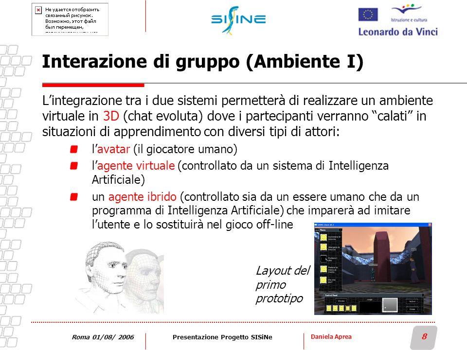 Daniela Aprea 8 Roma 01/08/ 2006Presentazione Progetto SISiNe Interazione di gruppo (Ambiente I) Lintegrazione tra i due sistemi permetterà di realizz