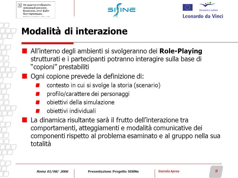 Daniela Aprea 9 Roma 01/08/ 2006Presentazione Progetto SISiNe Modalità di interazione Allinterno degli ambienti si svolgeranno dei Role-Playing strutt